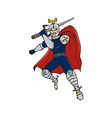 Knight Brandishing Sword Cartoon vector image vector image