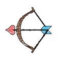Color crayon stripe image bow cupid with arrow vector image