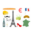 France set icons Traditional travel symbol Sights vector image
