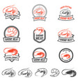 set of the shrimps meat labels isolated on white vector image