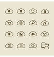 Generic cloud computing iconset contour flat vector image vector image