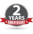 Celebrating 2 years anniversary retro label with vector image