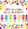 Back to school with happy stylized kids vector image