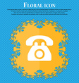 Retro telephone Floral flat design on a blue vector image