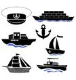 Sea Ships Silhouettes Anchor Icon Captain Hat vector image