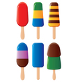 fruit and chocolate popsicles vector image vector image