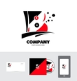 Alphabet letter b red black logo vector image