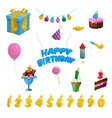Birthday icons set cartoon style vector image
