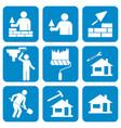 mason worker icons set vector image
