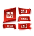 Set of five red realistic sale paper banners vector image