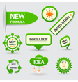 Set of green new formula labels vector image