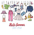 summer fashion setwoman colorful wear hanging on vector image