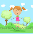 cute little girl skipping rope in park vector image