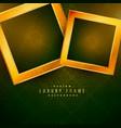 two golden frames on green floral background vector image