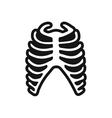 stylish black and white icon human rib vector image