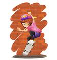 An energetic little girl skateboarding vector image