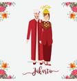 indonesian wedding couple wearing betawi jakarta vector image