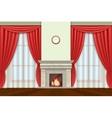 Living room interior with curtains and fireplace vector image