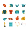 Rugby flat icons set vector image
