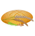 wheat bread loaf with cereal sticks on white vector image