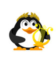 young penguin with lyre cartoon image of a small vector image