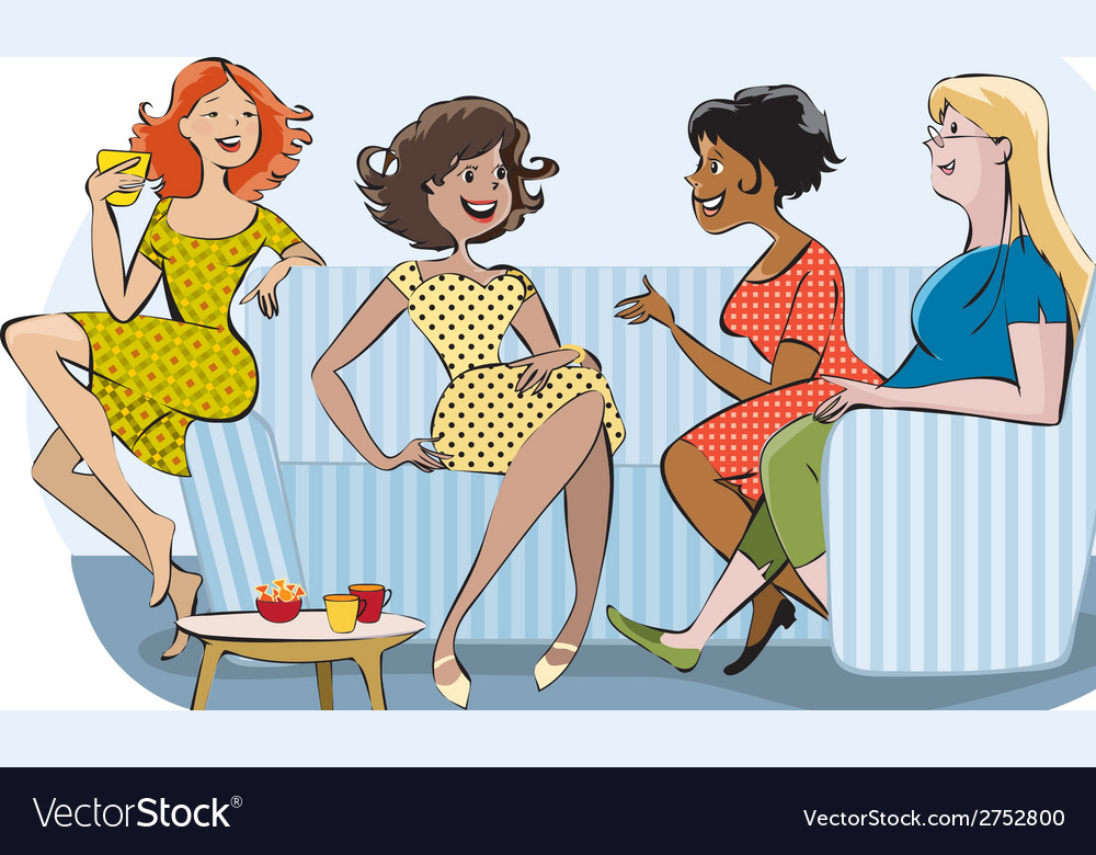 Group of chatting women vector