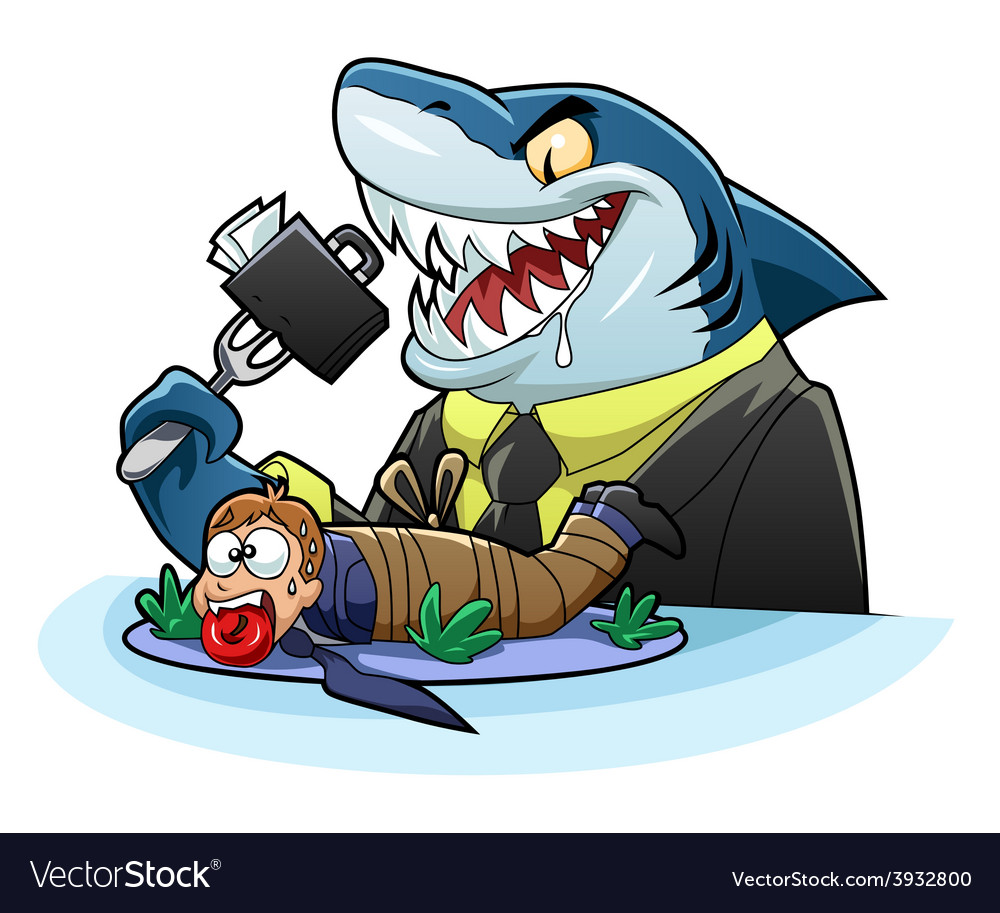 Hungry business shark vector