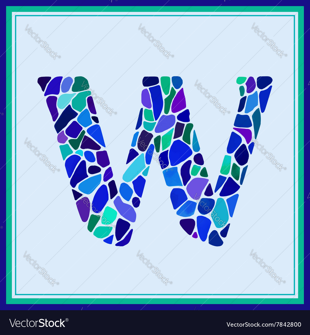 W  letter  green watercolor mosaic vector