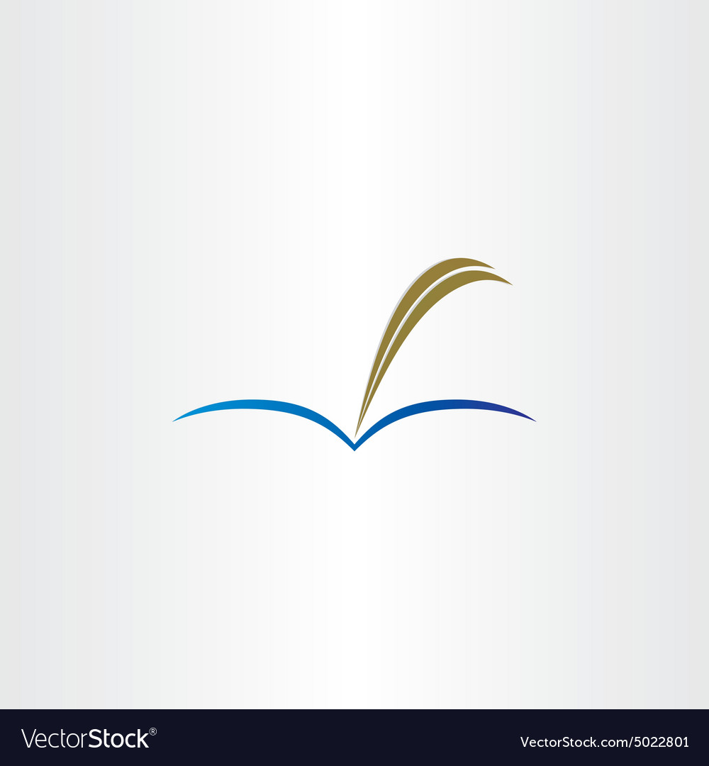 Book and feather pen symbol vector