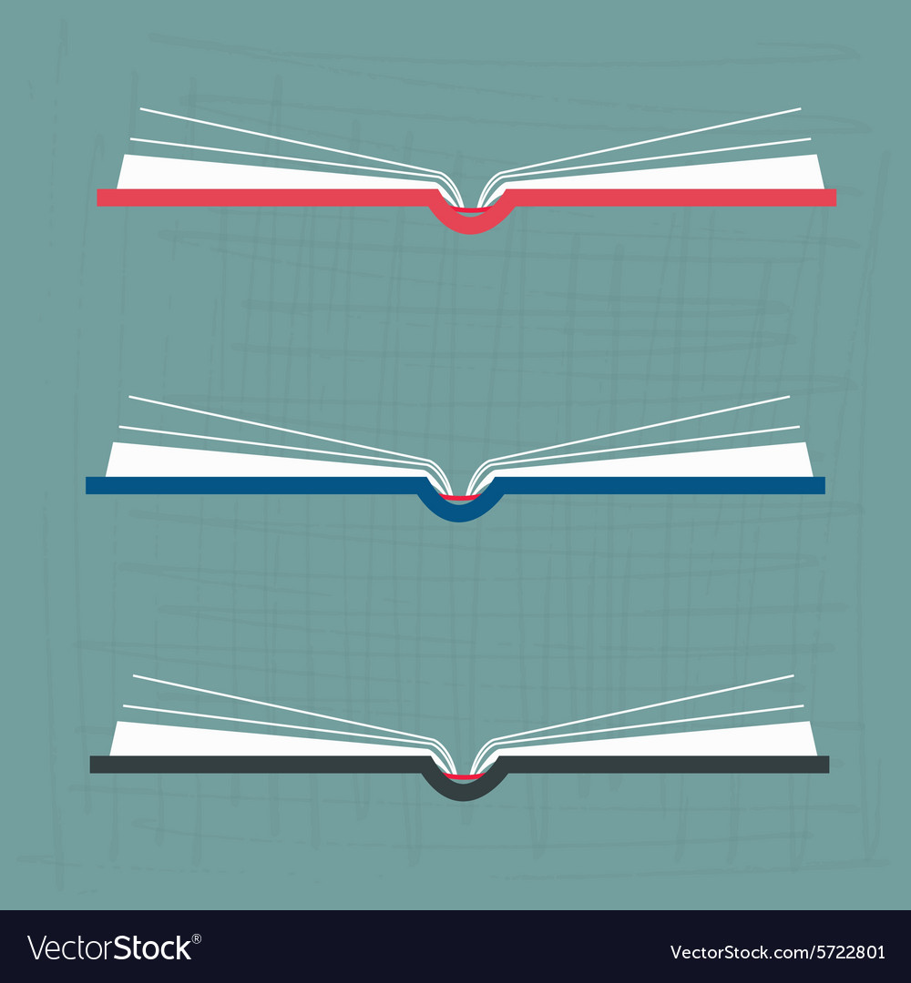 Opened books in flat design style vector