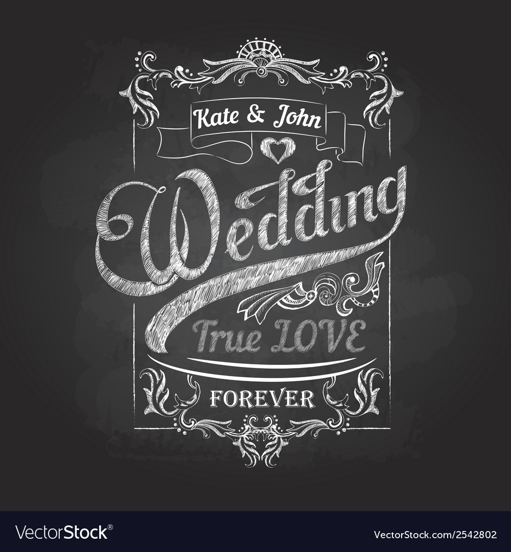 Chalk drawing wedding decorations vector