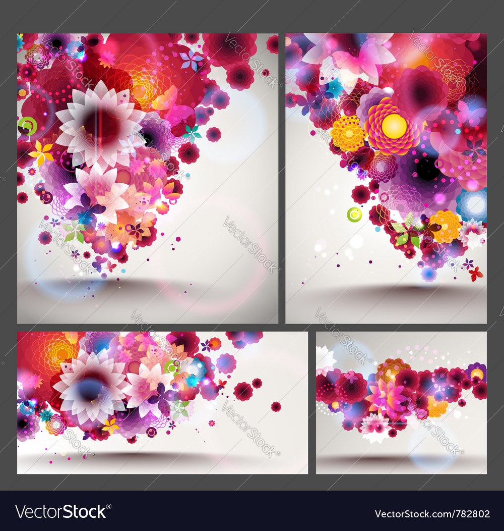 Flower spring background set vector