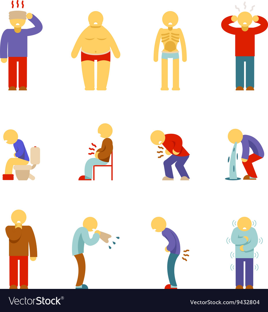 Sick people icons symptoms of disease pictograms vector