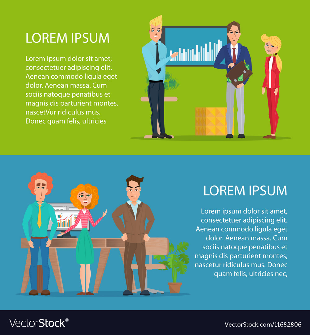 Business characters scene teamwork in modern vector