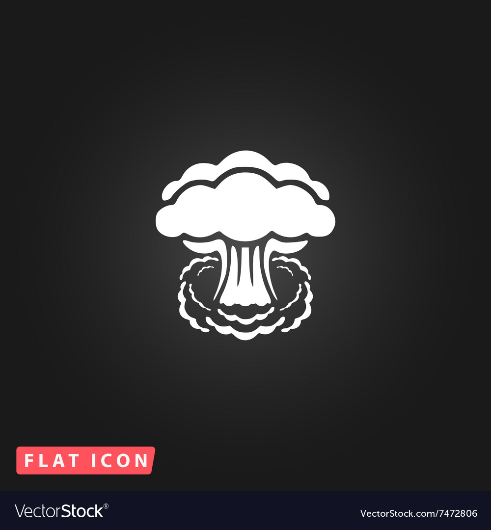 Mushroom cloud flat icon vector