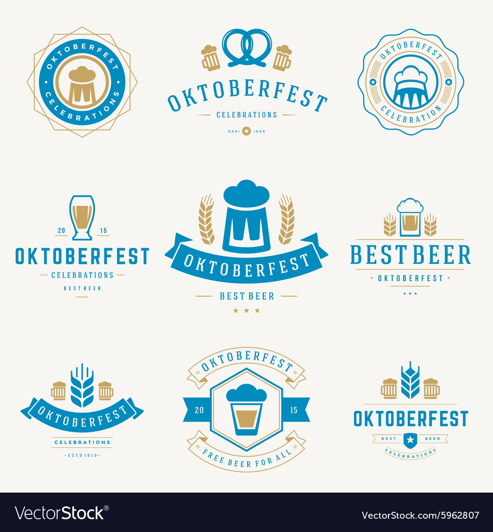 Badges and logos set beer festival oktoberfest vector