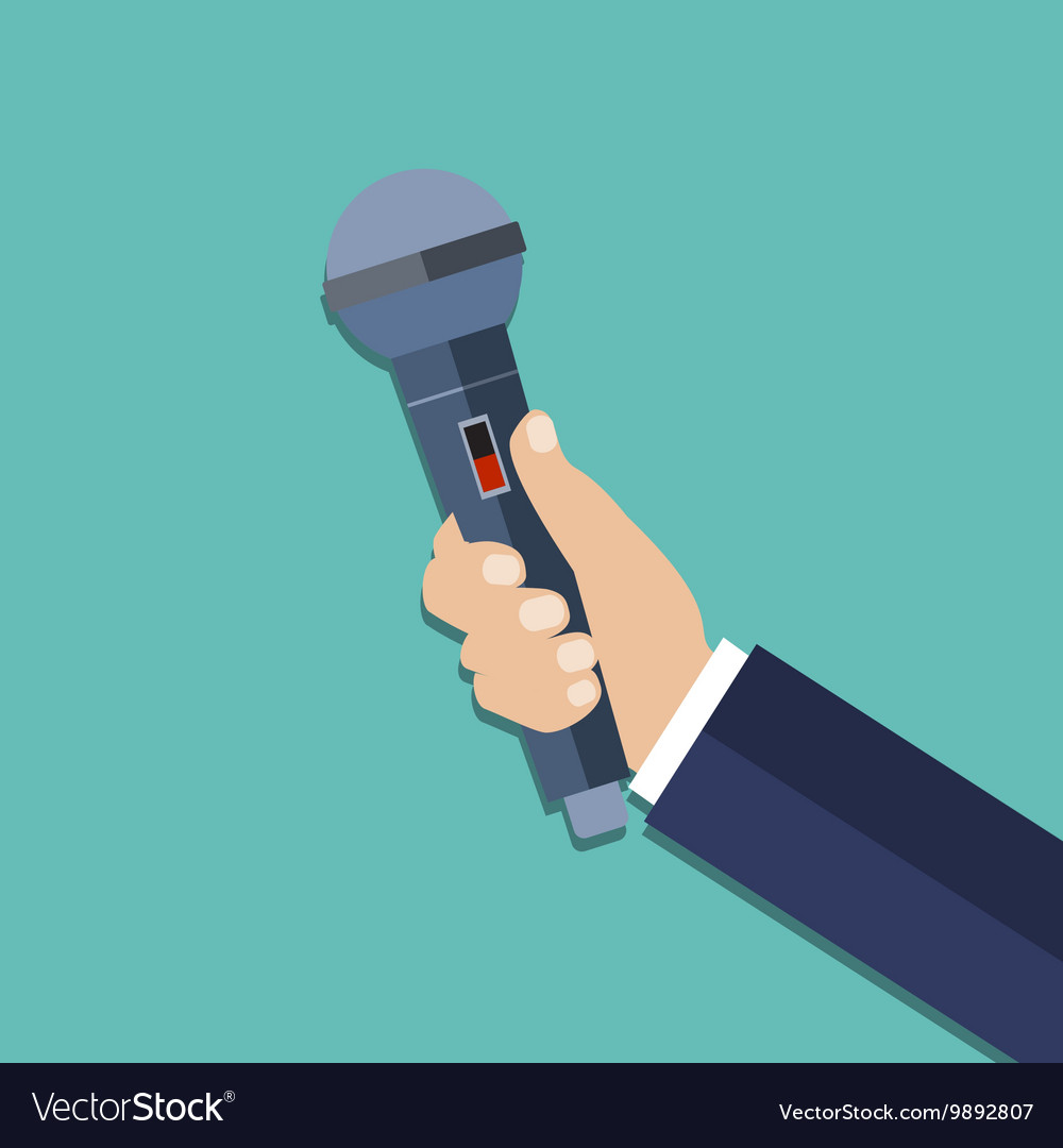 Hand holding a microphone vector