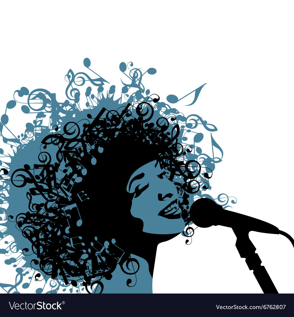 Head of woman with hair as musical symbols on a vector
