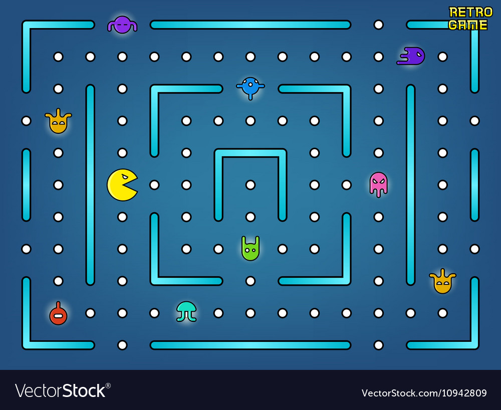 Pacman like video arcade game with ghosts vector