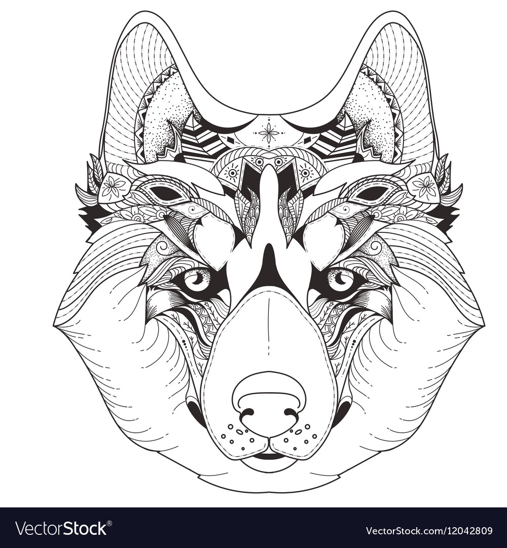 Poster with patterned husky vector