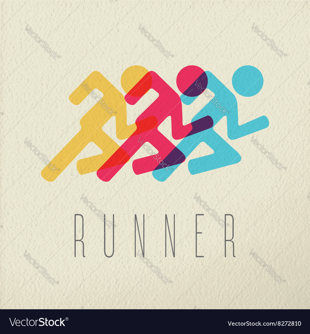 Runner fitness people concept icon color design vector