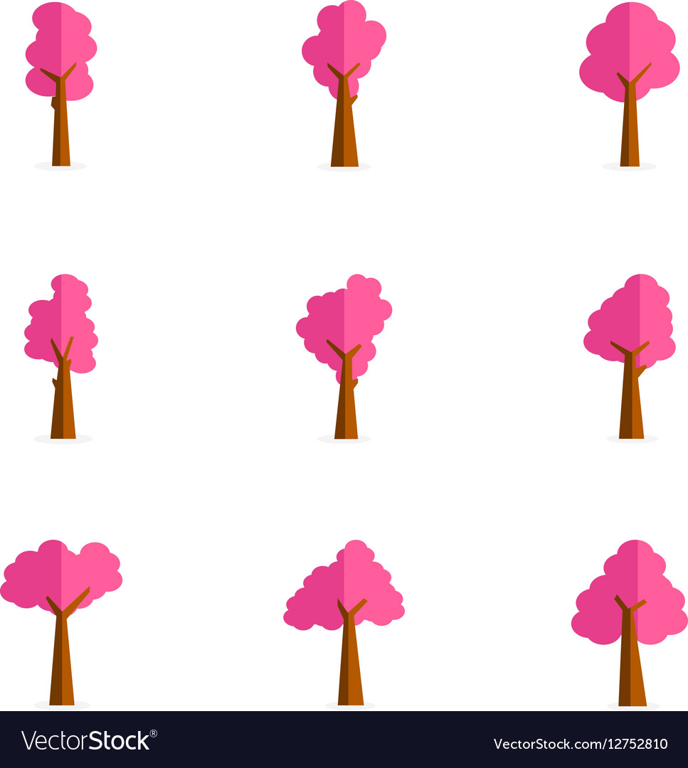 Set of pink tree collection vector