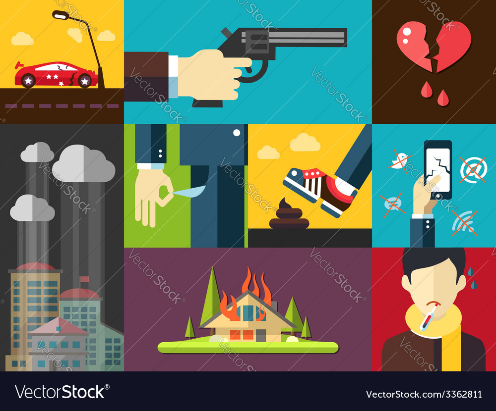 Set of modern flat design mens bad things icons vector