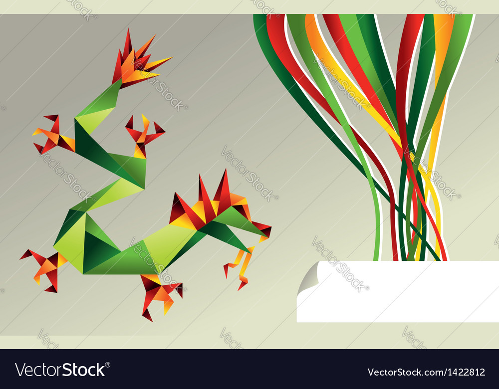 2012 china origami dragon of water vector