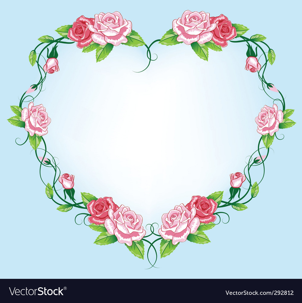 Heart roses border vector