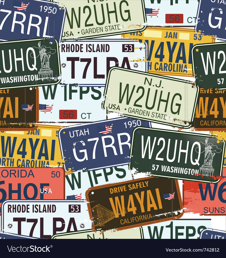 Seamless background  retro auto licence plates vector