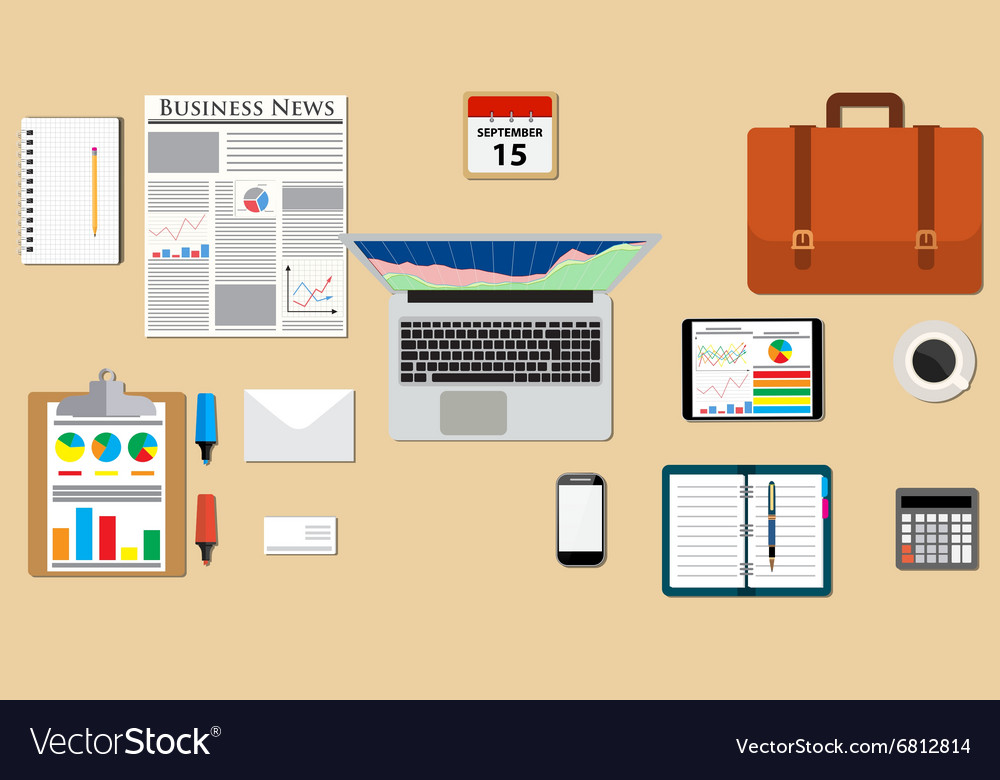 Businessman desk with laptop vector