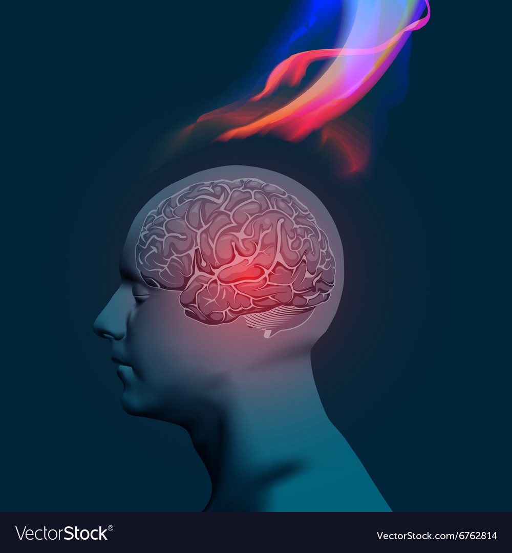 Headache with flames vector