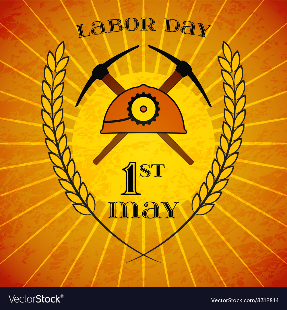 May 1st labor day mine helmet and picks vector