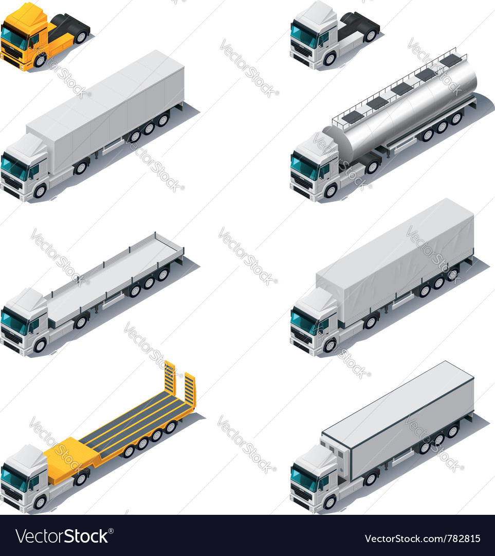 Isometric trucks with semitrail vector